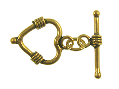 Vermeil: 20x15mm Heart Toggle Clasp With 2 Wrapped Stations *VER