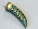 Turquoise and Gold Tibetan Mosiac Brass Horn Tusk Amulet Pendant Large 3.5-inch