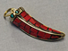 Tibetan Horn Pendant, Coral Red Mosiac Inlay, 1.5-inch, Small Amulet pendant