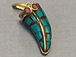 Wholesale Petite Tibetan Horn Pendant, Turquoise Blue Mosiac Inlay, 1-inch, Small Amulet pendant