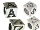 Alphabet Beads Sterling Silver - 7mm Block Letters